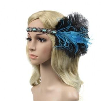 Luxusní čelenka styl Great Gatsby - 20.léta s černým a tyrkysovým peřím d74d4f7d04