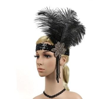 Luxusní čelenka styl Great Gatsby - 20.léta s černým peřím fbda77d064