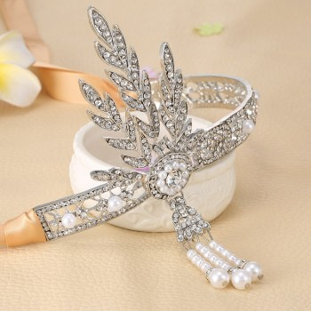 Luxusní čelenka styl Great Gatsby - 20.léta stříbrná 38516339af